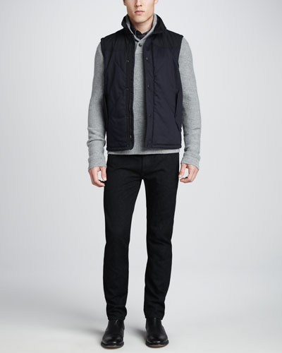 Rag & Bone Fenchurch Quilted Vest, Graham Shawl Pullover Sweater, Yokohama Check Shirt & Nap Denim Jeans