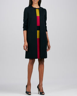 Misook One-Button Long Topper & Sleeveless Striped Sheath Dress