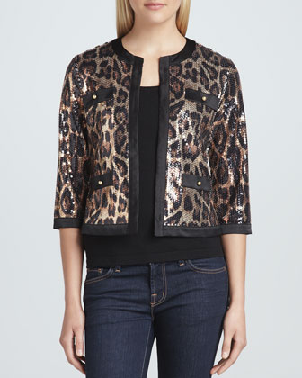 Animal-Sequined Cropped Jacket & Scoop-Neck Knit Tank