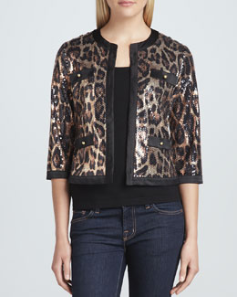 Michael Simon Animal-Sequined Cropped Jacket & Scoop-Neck Knit Tank, Women's