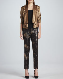 Berek Faux-Leather Moonraker Jacket & Marissa Metallic-Print Pants