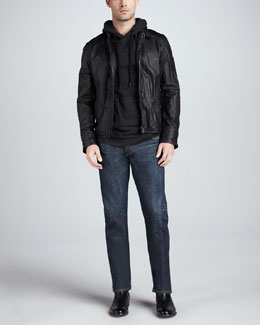 Rag & Bone Macclesfield Leather Jacket, Flame Pullover Hoodie & Olive-Wash Straight-Leg Jeans