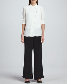 Go Silk Silk Zip-Front Moto Jacket & Full-Leg Silk Pants