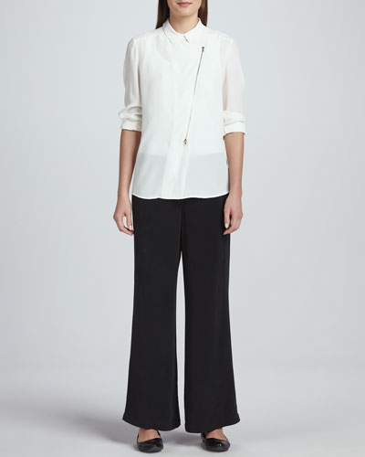 Go Silk Silk Zip-Front Moto Jacket & Full-Leg Silk Pants, Petite