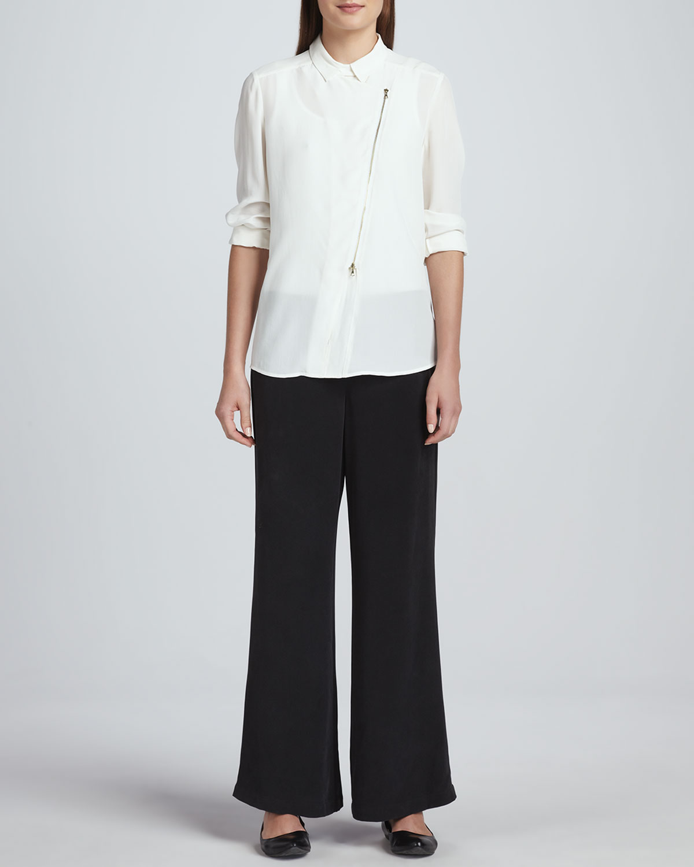 Silk Zip-Front Moto Jacket & Full-Leg Silk Pants, Petite