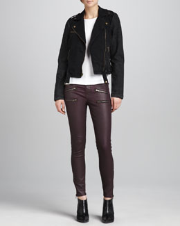 Current/Elliott The Easy Biker Jacket & The Soho Coated Stiletto Jeans