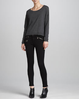 rag & bone/JEAN Natlie Boat-Neck Back-Vent Pullover & Midrise Leggings with Ankle Zip