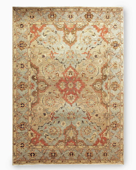 Damask on Blue Oushak Rug, 10' x 14'