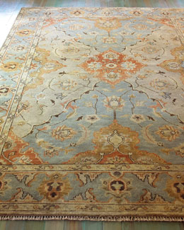 """Damask on Blue"" Oushak Rug"