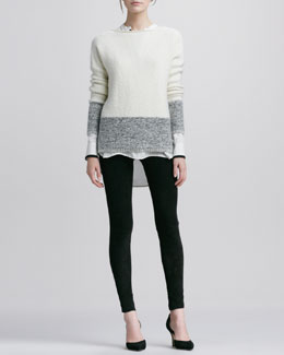 Vince Boat-Neck Sweater, Tipped Contrast Blouse & Suede Leggings