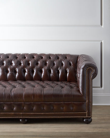 "Executive 76""L Chesterfield Sofa"