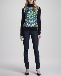 Tory Burch Wren Sweater with Front Panel & Denim Leggings