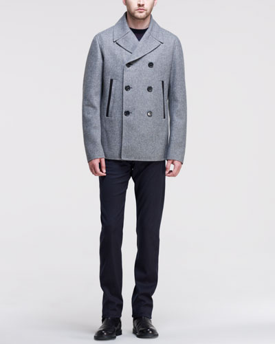 Jil Sander Bristol Double-Breasted Peacoat, Check-Graphic Knit Sweater & Tweed 5-Pocket Pants