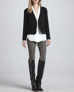 Theyskens' Theory Jeida Collarless Crepe Blazer, Brana Hi-Lo Silk Blouse & Pohn Leather Skinny Pants