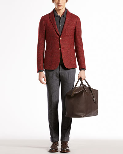Gucci Tweed Duke Jacket, Wool-Melange Long-Sleeve Polo, Stretch Flannel Riding Pants & Botanic-Print Scarf
