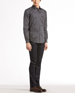 Gucci Long-Sleeve Botanic-Print Woven Shirt & Stretch Flannel Riding Pants