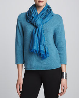 Eileen Fisher Cropped Sweater & Cross-Dyed Silk/Cashmere Wrap, Petite