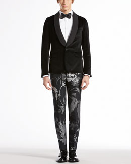 Gucci Velvet Evening Duke Jacket, Evening Shirt, Botanic-Jacquard Skinny Pants & Satin Bow Tie