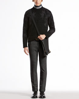 Gucci Knit Sweater with Botanic Embroidery, Flannel Riding Pants & Botanic-Print Silk Twill Scarf