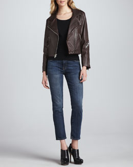 Current/Elliott The Soho Biker Jacket & The Fling Faded Cropped Jeans