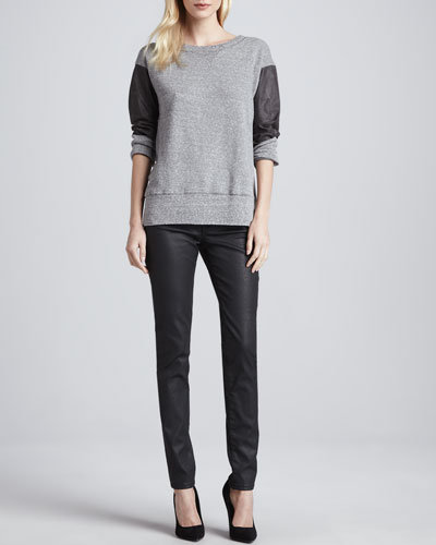 Current/Elliott The Stadium Knit Sweatshirt & The Ankle Skinny Coated Jeans