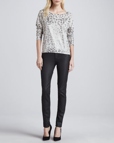 Current/Elliott The Letterman Leopard-Print Sweatshirt & The Ankle Skinny Coated Jeans