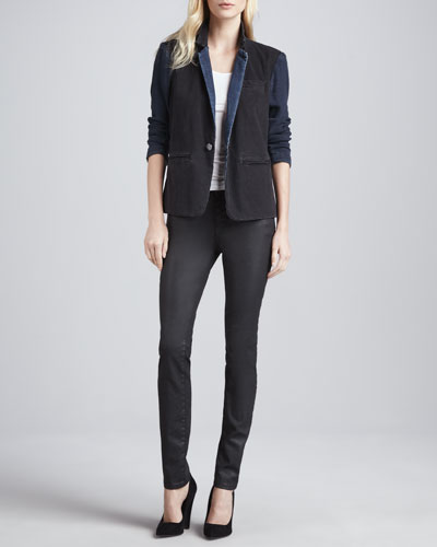 Current/Elliott The Co-Ed Denim Blazer & The Ankle Skinny Coated Jeans