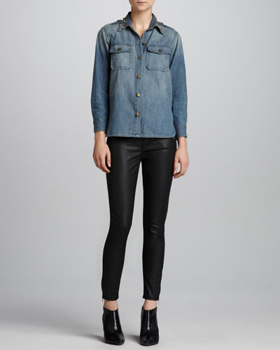 Current/Elliott The Perfect Stud-Collar Shirt & Soho Coated-Denim Stiletto Pants