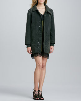Haute Hippie Stud-Shoulder Cargo Jacket & Lace-Trim Slip Dress