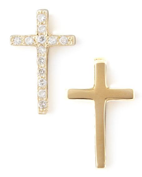 One Pave Diamond Gold Cross Stud Earring
