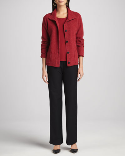 Eileen Fisher Wool Button-Front Jacket, Melange Jewel-Neck Top & Washable-Crepe Straight-Leg Pants