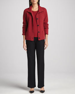 Eileen Fisher Wool Button-Front Jacket, Melange Jewel-Neck Top & Washable-Crepe Straight-Leg Pants, Petite
