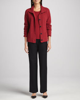 Eileen Fisher Wool Button-Front Jacket, Melange Jewel-Neck Top & Washable-Crepe Straight-Leg Pants, Women's