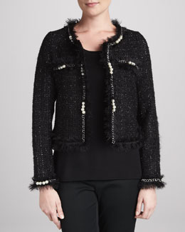 Michael Simon Glam Tweed Jacket with Faux Pearls & Solid Scoop-Neck Shell