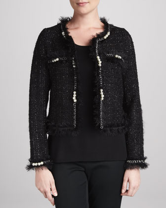 Glam Tweed Jacket with Faux Pearls & Solid Scoop-Neck Shell