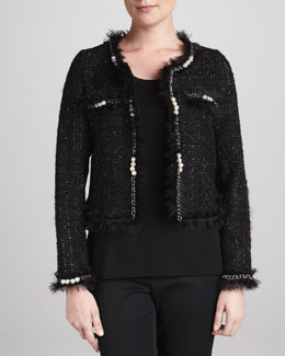 Michael Simon Glam Tweed Jacket with Faux Pearls & Solid Scoop-Neck Shell, Petite