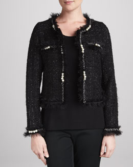Michael Simon Glam Tweed Jacket with Faux Pearls & Solid Scoop-Neck Shell, Women's