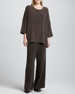 Go Silk Silk Dolman-Sleeve Easy Tunic & Full-Leg Silk Pants