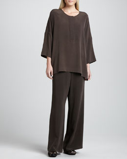 Go Silk Silk Dolman-Sleeve Easy Tunic & Full-Leg Silk Pants, Women's