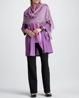 Eileen Fisher Long Cardigan, Silk Blouse, Ombre Kerchief, Cross-Dyed Wrap & Straight-Leg Pants