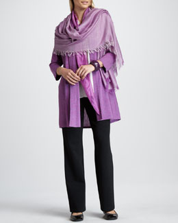 Eileen Fisher Long Cardigan, Silk Blouse, Ombre Kerchief, Cross-Dyed Wrap & Straight-Leg Pants, Petite