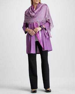 Eileen Fisher Long Cardigan, Silk Blouse, Ombre Kerchief, Cross-Dyed Wrap & Straight-Leg Pants, Women's
