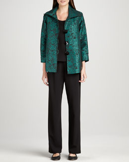 Caroline Rose Pebble Jacquard Jacket, Basic Stretch Tank & Stretch-Gabardine Travel Pants