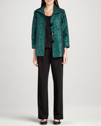 Pebble Jacquard Jacket, Basic Stretch Tank & Stretch-Gabardine Travel Pants