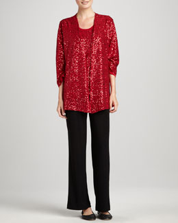 Caroline Rose Sequined Jacket, Tank & Knit Straight-Leg Pants, Petite