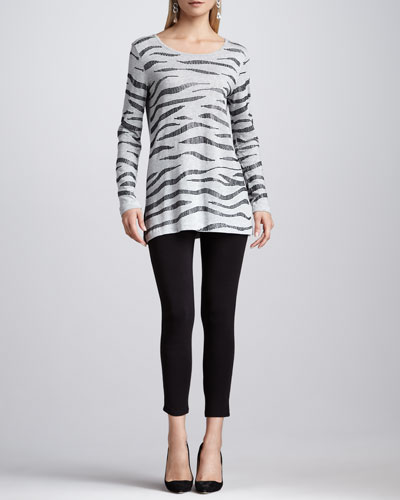 Joan Vass Animal Sequined Tunic & Cropped Jersey Leggings