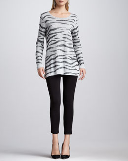 Joan Vass Animal Sequined Tunic & Cropped Jersey Leggings, Petite