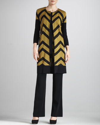 Chevron-Stripe Jacket, Basic Tank & Boot-Cut Pants