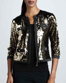 Michael Simon Sequined Jacket & Solid Knit Shell
