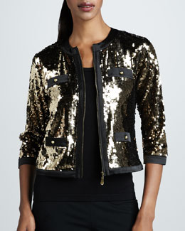 Michael Simon Sequined Jacket & Solid Knit Shell, Petite